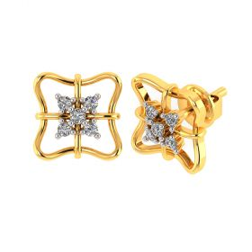 VE-810 | Vaibhav Jewellers 18k Yellow Gold and American Diamond Stud Earrings for Women VE-810