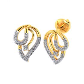 VE-836 | Vaibhav Jewellers 18k Yellow Gold and American Diamond Stud Earrings for Women VE-836