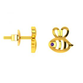 18KT Yellow Gold Kids Stud Earrings VKE-935