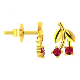 18KT Yellow Gold Kids Stud Earrings VKE-951