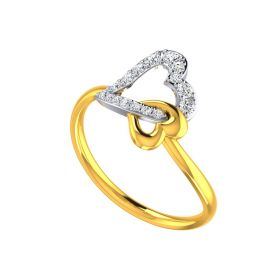 Anchored Heart Gold Ring