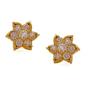 Sophisticated Swirly Flower Diamond Studs