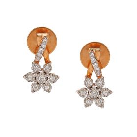 Floret Drop Diamond Earrings