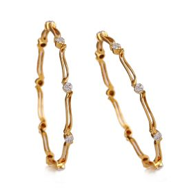 173VG581 | Gold Swirl Diamond Bangle