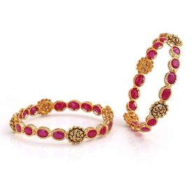 Swirl Cluster Precious Ruby Gold Bangles