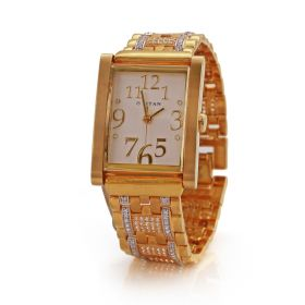 Rectangular CZ Dial Gold Men's Watch