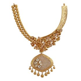 123VG2589 | Orchid Lattice Antique Gold Necklace