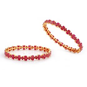 112VG754 | Dazzling Ruby Precious Stone Gold Bangles