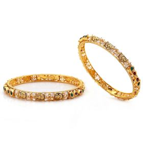 Temple Gemstone Antique Gold Bangles