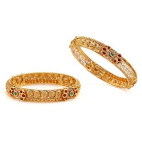 Cut work Antique Gold Bangles