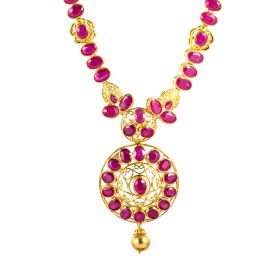 110MP3435   Ingenuous Ruby Gold Necklace