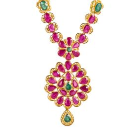 110MP3466   Ruby Emerald Fusion Gold Necklace