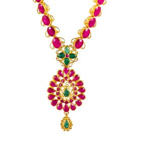 110VG3473 | Simple Ruby Gold Necklace