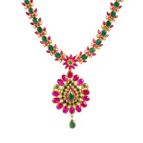 110VG3641 | Assorted Ruby Emerald Gold Necklace