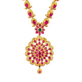111MP2179 | Frilled Ruby Gold Necklace