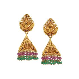 135VG3538 | Antique Gold Beaded Jhumka Earrings