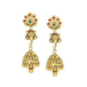 135VG3541 | Antique Gold Modern Jhumka Earrings
