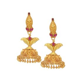 135VG3555 | Antique Gold Leaf Jhumka Earrings