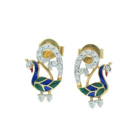155VG3569 | Peacock Enameled Gold Stud Earrings