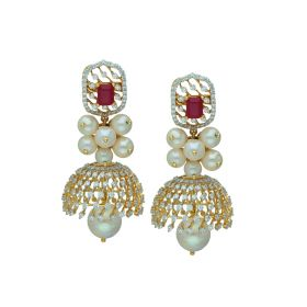 155VG9208 | Pearly Delight Gold Jhumka Earrings