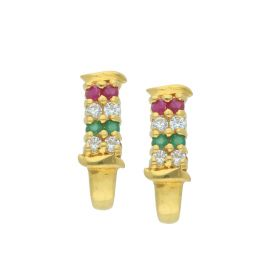 81VG4866 | Multi Stone Gold Huggie Earrings