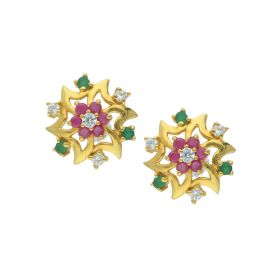 81VG5859 | Plain Gold Stone Stud Earrings
