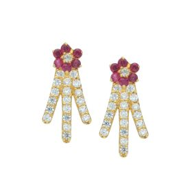 81VG7101 | 22K Sparkling Stone Huggie Earrings