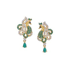 82VH2848 | Signity Stone Peacock Hanging Earrings