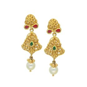 135VG1992 | Antique Gold Pearl Drop Earrings