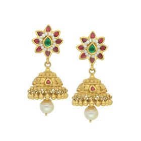 135VG1996 | Antique Gold Gemstone Floret Jhumka Earrings