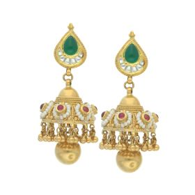 135VG3182 | Antique Gold Temple Art Jhumka Earrings