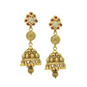 135VG3544 | Antique Gold Temple Vimana Jhumka Earrings