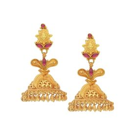 135VG3550 | Floral Inspired Antique Gold Jhumka Earrings