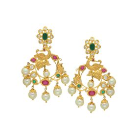 76VG3003 | 22K Gold Peacock Pearl Combo Hanging Earrings