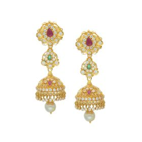 76VG3136 | 22K Gold Gemstone Fusion Jhumka Earrings