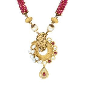 123VG2524 | Ruby Beads Knoted Antique Gold Haram