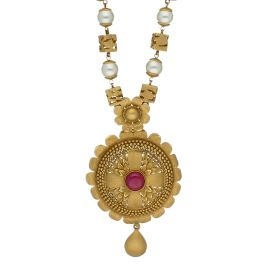 Pearl Outlined Antique Gold Haram