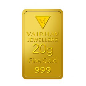 20 Grams 24 KT Gold Bar 999 Purity