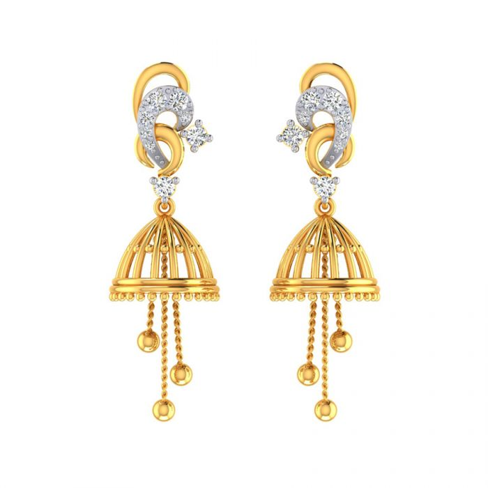 Buy Panache Gold Jhumkas Online From Vaibhav Jewellers