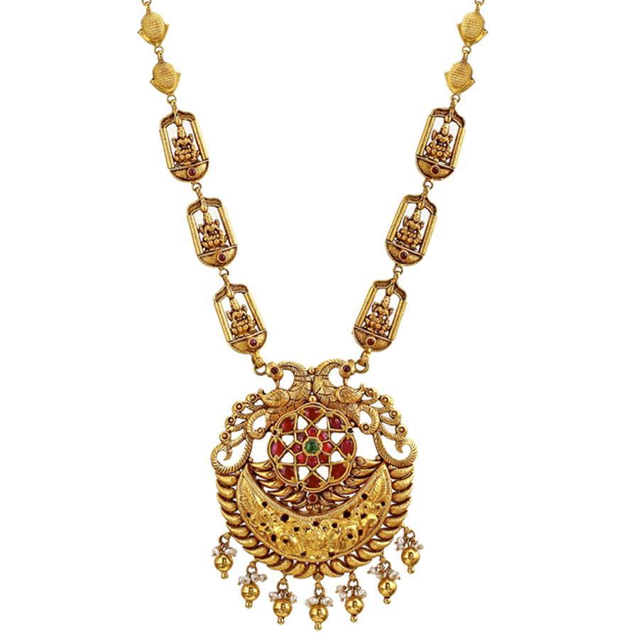 Intricate Peacock Gold Necklace_2