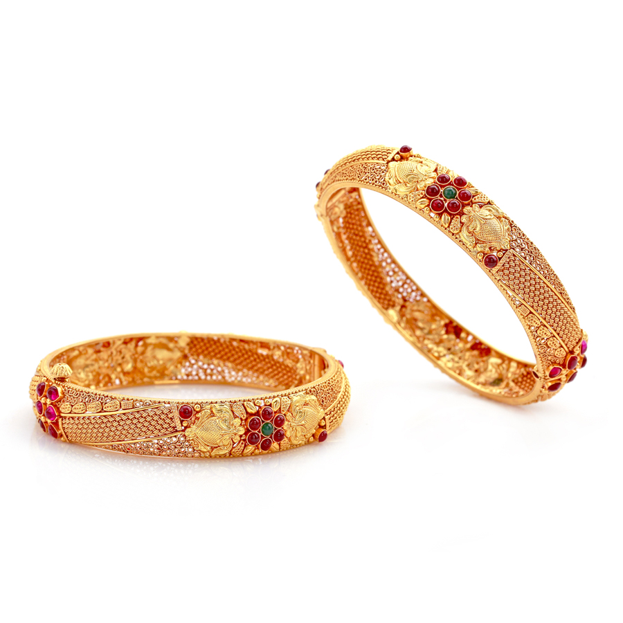 Exquisite Antique Gold Bangles with Rubies_1