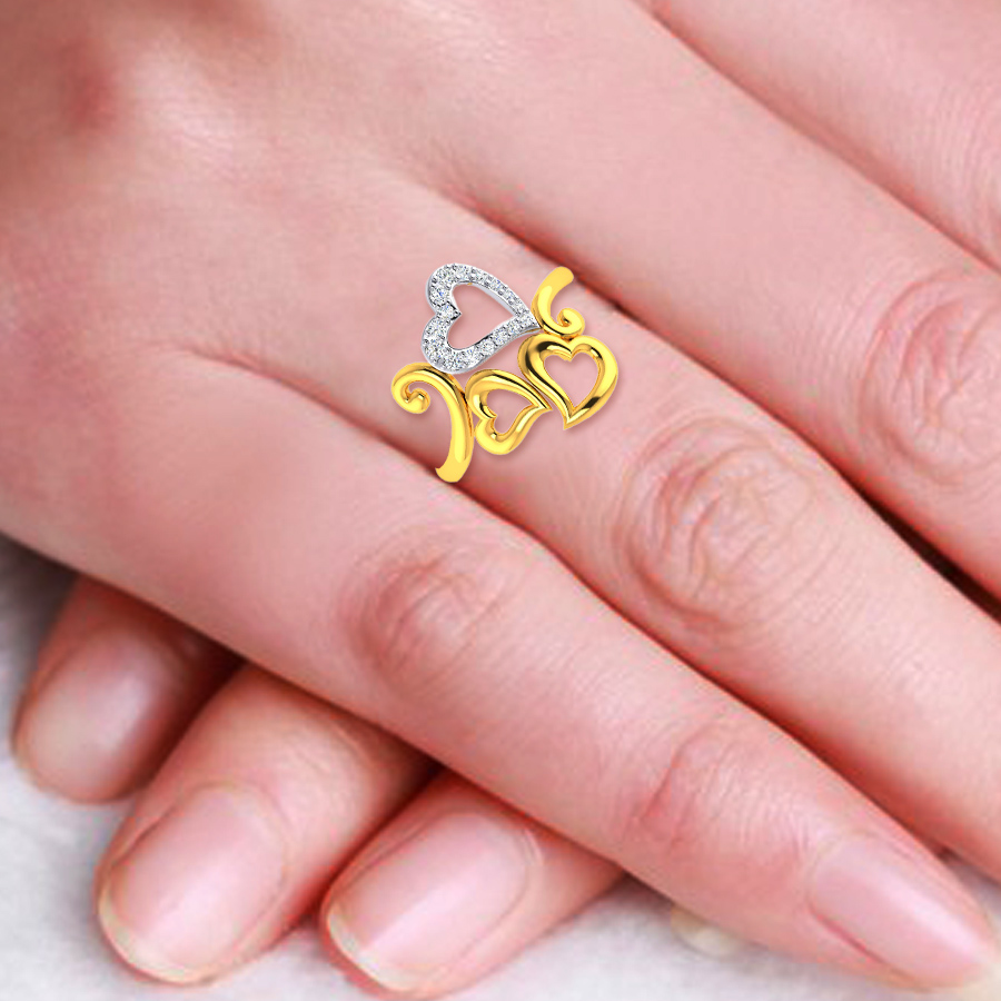 22k Hearty Trio Gold Ring_4