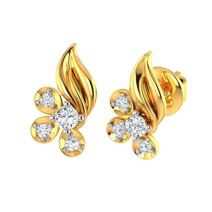 Alluring Flame CZ Gold Stud Earring_3