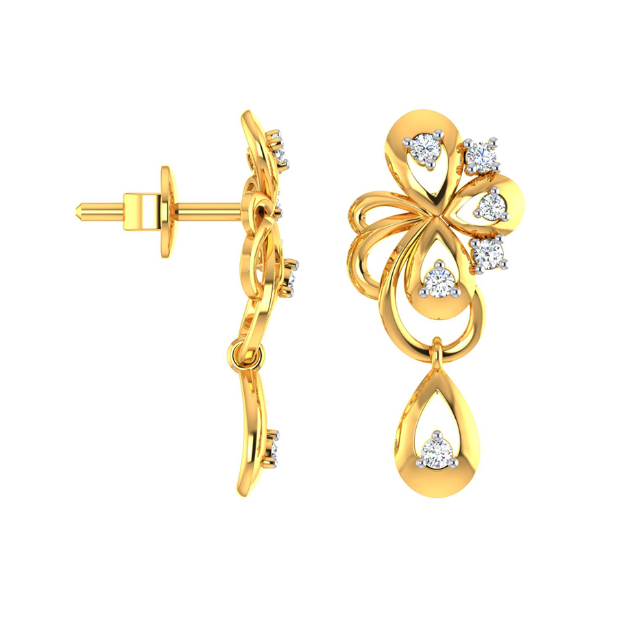 22k Golden Bow and CZ Gold Dangle Earrings_2