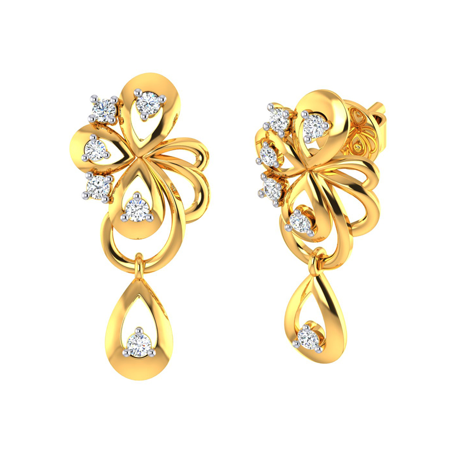 22k Golden Bow and CZ Gold Dangle Earrings_3