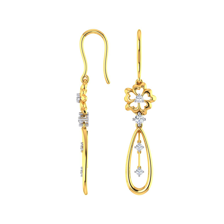 Awesome Blossom Gold Dangle Earrings_1