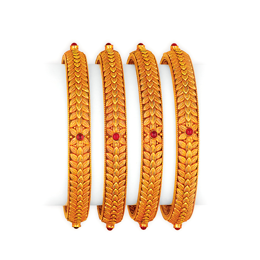 Antique Floral Braided Gold Bangles_1
