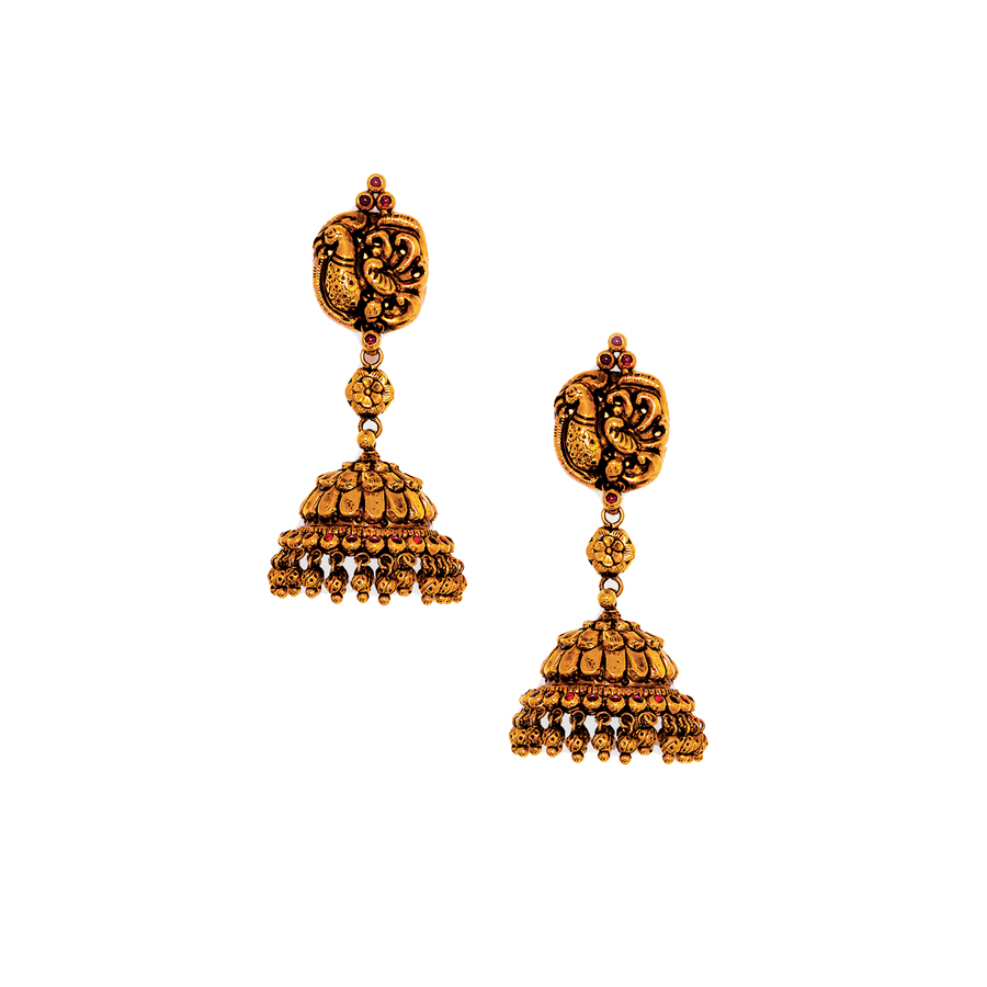 22K Antique Peacock Perched Gold Jhumkis_1