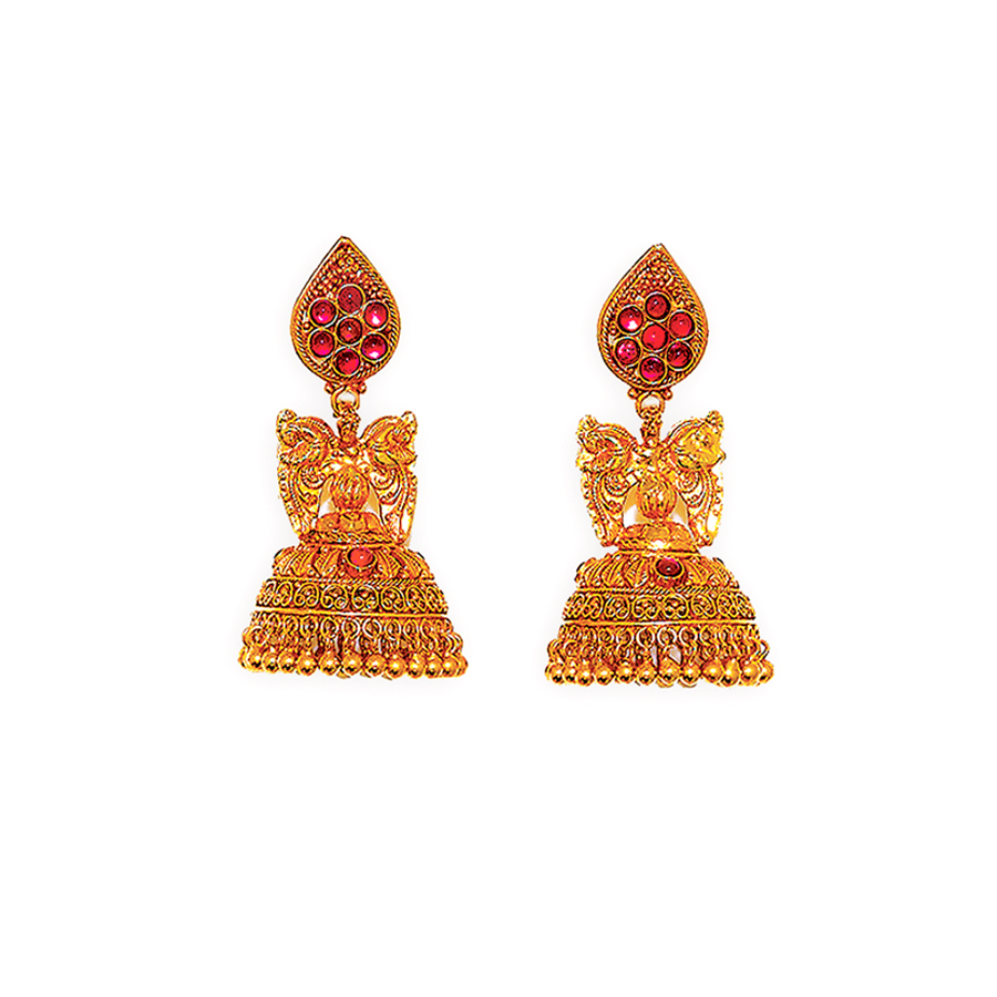 Royal Antique Peacock Accented Jhumkis_1